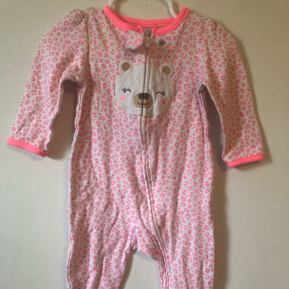 child of mine Other - Neon hot pink leopard print pjs. Teddy bear foot